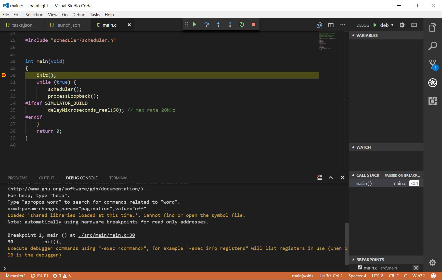 Visual Studio Code – building and debugging Betaflight – blck mn