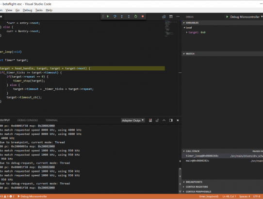 Visual Studio Code – Cortex-Debug – blck mn